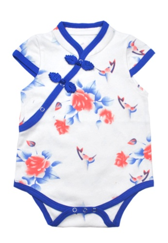 Kiddies Crew white and red and blue and multi Cheongsum Qi Pao Floral & Swallow Girls Baby Kids Short Sleeve Romper Onesie Overalls Bodysuit F4D3DKA42FBF46GS_1
