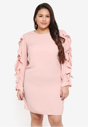 Junarose pink Plus Size Refika LS Above Knee Dress 0F98DAAC1473A4GS_1