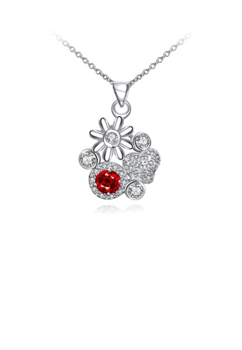 Glamorousky red Fashion Elegant Flower Heart Pendant with Red Cubic Zirconia and Necklace F98D2ACFBF8831GS_1