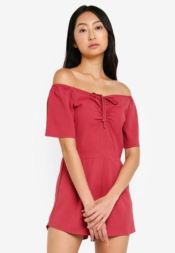 Something Borrowed 粉紅色 褶飾喇叭袖連身短褲 EF7A1AAE78BA36GS_1