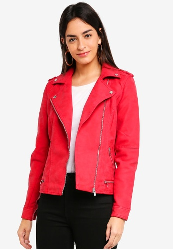 Vero Moda red World Short Faux Leather Jacket 23209AA9788350GS_1