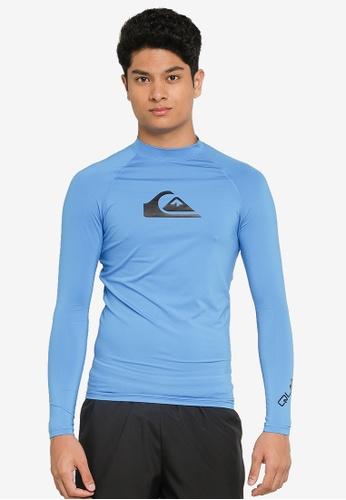 Quiksilver blue Long Sleeve Rash Vest 8BC82AA9E0F938GS_1