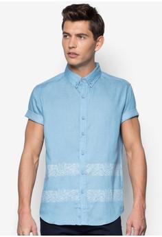Foliage Printed Short Sleeve Denim Shirt
