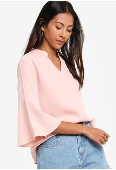 f25dcc180935c1 ZALORA BASICS pink Basic Fluted Sleeves V-Neck Top 81355AA04298C1GS 1