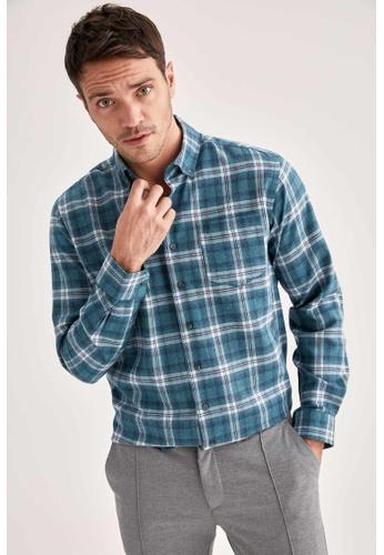 DeFacto blue Long Sleeve Shirt BE877AAF0D58C2GS_1