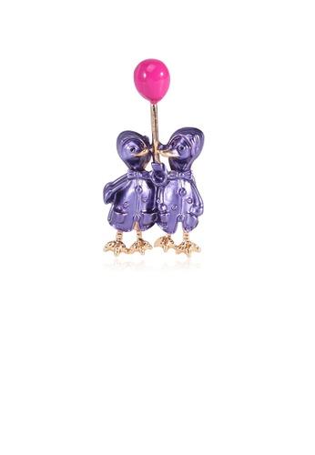 Glamorousky silver Simple and Cute Purple Double Duck Balloon Brooch BDDFAACA30B122GS_1
