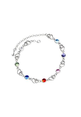 Her Jewellery multi Swarovski® Crystals - Colorful Heart Bracelet (18K White Gold Plated) Her Jewellery HE581AC0RCCOMY_1
