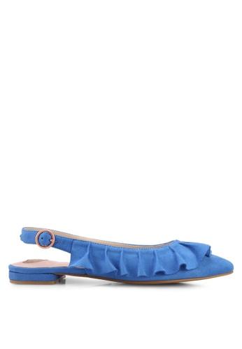 Velvet 海軍藍色 Ruffled Flats A6220SHC38A447GS_1