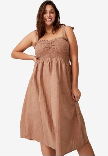 Cotton On brown Plus Size Shirred Samantha Midi Dress 2815FAAE97170EGS_1