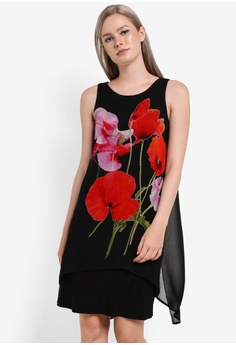073159239da0a Wallis black Petite Black Poppy Printed Layered Dress WA800AA48YIXMY_1