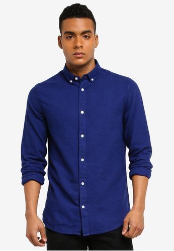 Only & Sons blue Thomas Long Sleeve Melange Shirt E7AE1AA74515D3GS_1