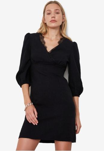 Trendyol black Lace Trim V Neck Dress 67B5CAAE452A5AGS_1