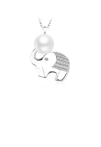 Glamorousky white 925 Sterling Silver Elephant Pendant with Fashion Pearl and Necklace C646BACBF0FFC9GS_1