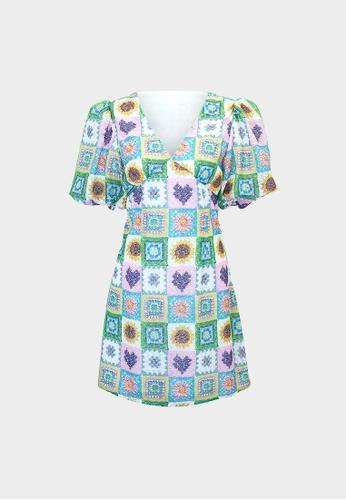 Pomelo multi Crochet Puff Sleeve Mini Dress - Multi Color 045AAAA02FA1A2GS_1