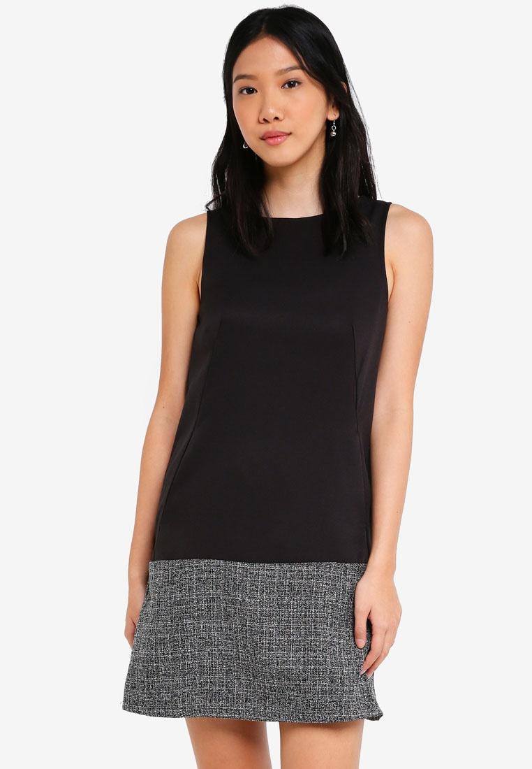 Panel Dress Block Black Tweed ZALORA A BASICS Line tf6qOEw