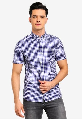MANGO Man blue and navy Regular-Fit Gingham Check Shirt 1B527AA4664108GS_1