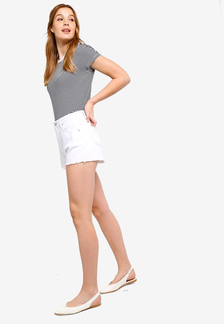 Denim Rise ZALORA BASICS Shorts Basic White High TSwgTq