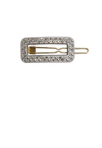 Glamorousky white Fashion and Simple Gray Hollow Geometric Hair Clip with Cubic Zirconia 7CC48AC708768DGS_1