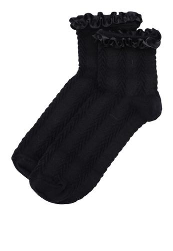 Dorothy Perkins black Black Satin Frill Socks DE173AA7CED432GS_1