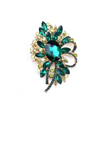 Glamorousky green Elegant and Bright Plated Gold Geometric Flower Brooch with Green Cubic Zirconia 94C2EAC2AC1C06GS_1