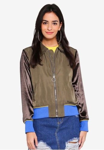 Glamorous green Collar Jacket With Sleeve Details 37F6FAA4C96E95GS_1