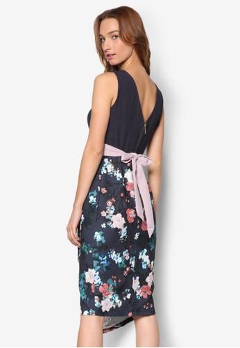 V esprit 台中字背撞色腰帶印花拼接連身裙, 服飾, 洋裝
