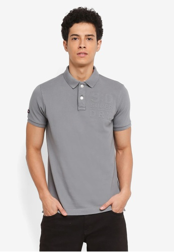 Superdry grey Classic Embossed Pique Polo 5CA82AA4F03FB0GS_1