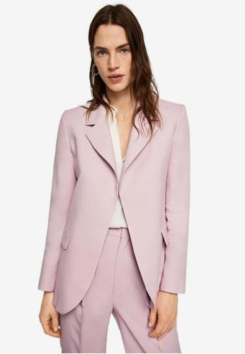 Mango purple Structured Linen Jacket CBDCDAA188F1E4GS_1