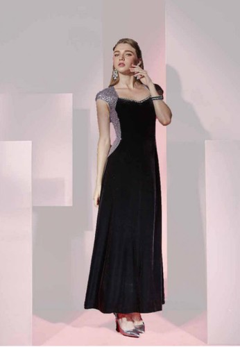 完美esprit 香港 outlet曲線時尚亮片絲絨長禮服, 服飾, 派對洋裝
