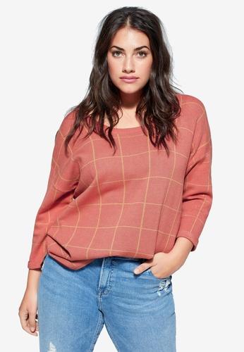 Violeta by MANGO orange Plus Size Check Print Sweater B4AB2AAFF76819GS_1