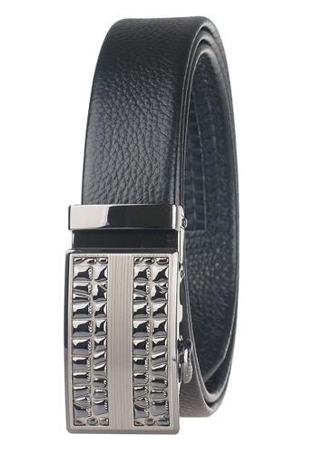 FANYU black Leather Dress Belt With Automatic Buckle FA549AC0GVYFSG_1