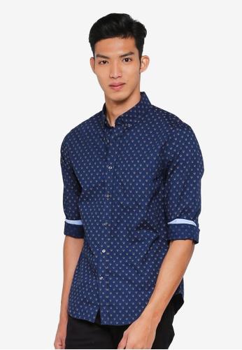 Banana Republic navy Grant Slim-Fit Luxe Poplin Fox Print Shirt 0296DAAA61584BGS_1
