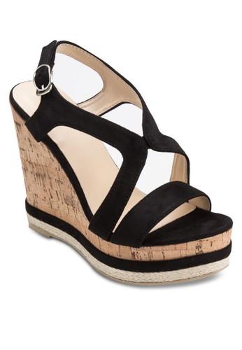 Darlene 交叉帶木製esprit旗艦店楔形鞋, 女鞋, 楔形涼鞋