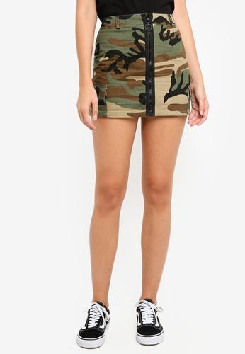 Factorie green Camo Zip Front Skirt 723DAAA531D370GS_1