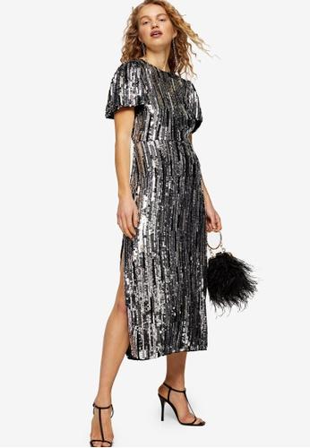 big sale new images of good service Buy TOPSHOP Premium Silver Puff Sleeve Sequin Midi Dress | ZALORA HK