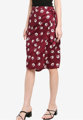 ZALORA red and multi Knee Length Faux Wrap Skirt 3452FAA5FF1783GS_1