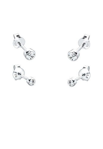 Elli Germany white 925 Sterling Silver Swarovski® Crystal Earring Set EL474AC59GSYMY_1