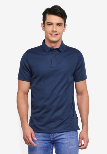 Burton Menswear London navy Navy Woven Collar Smart Polo Shirt 12F0AAA22B9AA0GS_1