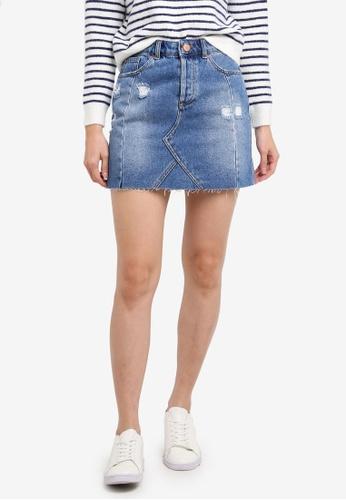 Miss Selfridge blue Mid Wash Seamed Denim Skirt 63280AAEDCF086GS_1