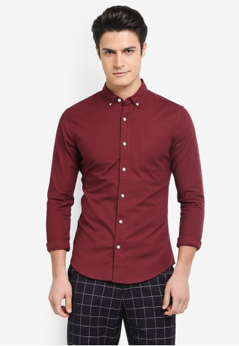 Topman red Muscle Fit Oxford Shirt D1125AA2D74CA4GS_1