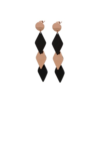 Glamorousky silver Simple Personality Plated Rose Gold Black Geometric Diamond 316L Stainless Steel Earrings 03CF0AC103235FGS_1