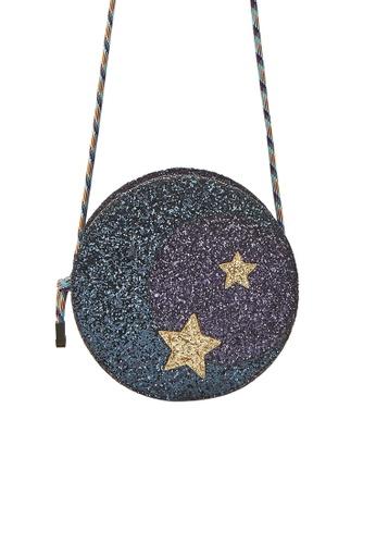 My Flash Trash purple HAPPY FRIDAY Moon and Stars Glitter cross Body Bag FED3FAC5C7C302GS_1