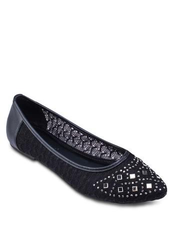 蕾絲鉚zalora 評價釘尖頭娃娃鞋, 女鞋, 鞋