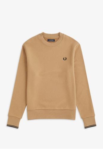 FRED PERRY beige M7535 - Crew Neck Sweatshirt - (Warm Stone) 561CBAA5C77370GS_1