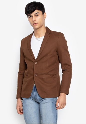Well Suited brown Slim Fit Casual Blazer E4A58AAC23DBA9GS_1