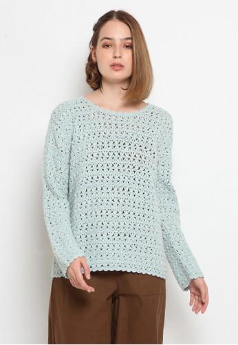 et cetera green Long Sleeve Crochet Sweater D426EAAD62334BGS_1