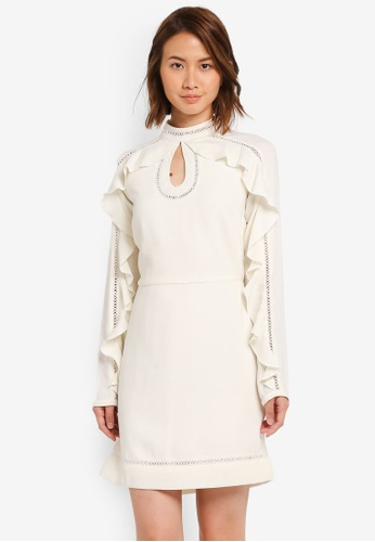 ZALORA white Studio Ruffle Sleeve Mini Dress 31ECCAA45A25BAGS_1