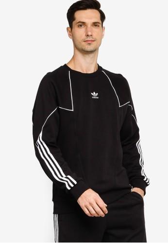 ADIDAS black big trefoil blocked sweatshirt DFEA5AA61F2285GS_1