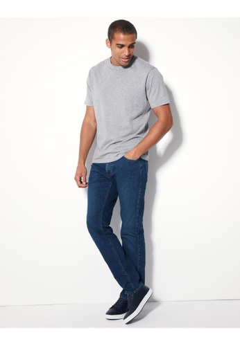 MARKS & SPENCER blue M&S Tapered Fit Stretch Jeans 9CDAAAABB2123EGS_1