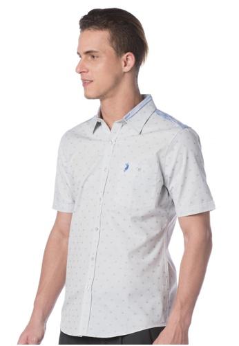 POLO HAUS blue Polo Haus - Woven Short Sleeve Shirt (Blue) PO783AA76JODMY_1